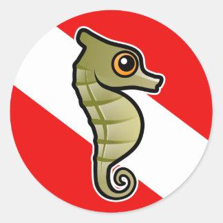 Bandera linda de la zambullida del Seahorse del Pegatinas Redondas