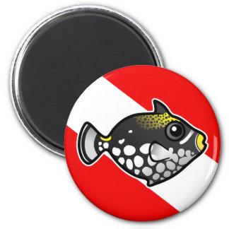 Bandera linda de la zambullida del Triggerfish del Imán Redondo 5 Cm