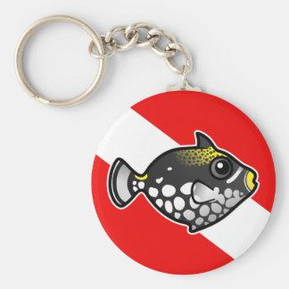 Bandera linda de la zambullida del Triggerfish del Llavero Redondo Tipo Pin