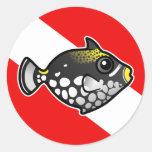 Bandera linda de la zambullida del Triggerfish del Pegatina Redonda