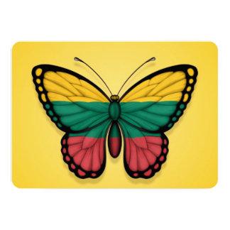Bandera lituana de la mariposa en amarillo invitación 12,7 x 17,8 cm