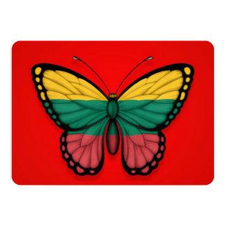 Bandera lituana de la mariposa en rojo invitación 12,7 x 17,8 cm