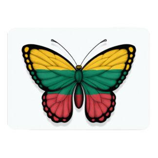 """Bandera lituana de la mariposa invitación 5"""" x 7"""""""
