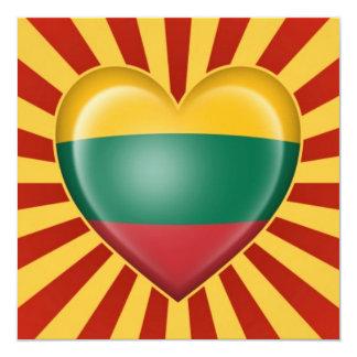 Bandera lituana del corazón con la explosión de la invitación 13,3 cm x 13,3cm