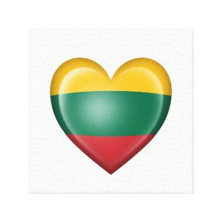 Bandera lituana del corazón en blanco impresión en lona