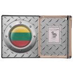 Bandera lituana industrial con el gráfico de acero iPad protector