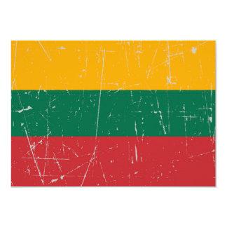 Bandera lituana rascada y rasguñada invitación 12,7 x 17,8 cm