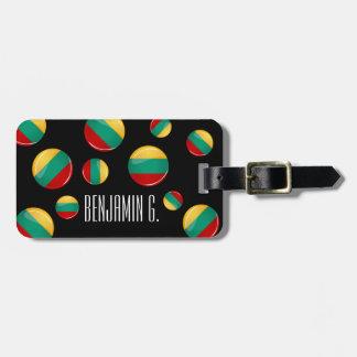 Bandera lituana redonda brillante etiquetas de maletas