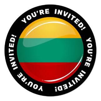 Bandera lituana redonda brillante invitación 13,3 cm x 13,3cm