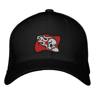 bandera llameante de la zambullida del cráneo gorra de béisbol