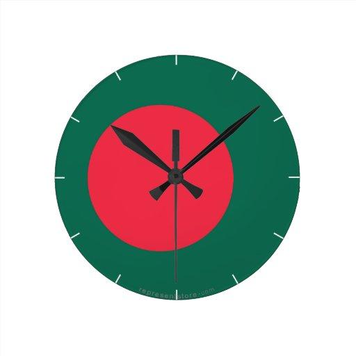 Bandera llana de Bangladesh Reloj Redondo Mediano