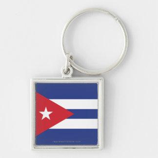 Bandera llana de Cuba Llavero Cuadrado Plateado