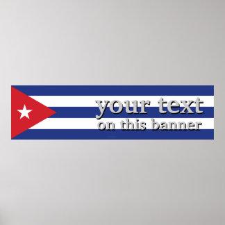 Bandera llana de Cuba Póster