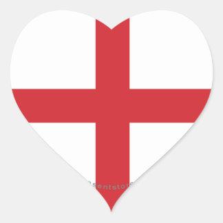 Bandera llana de Inglaterra Pegatina En Forma De Corazón