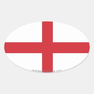 Bandera llana de Inglaterra Pegatina Ovalada