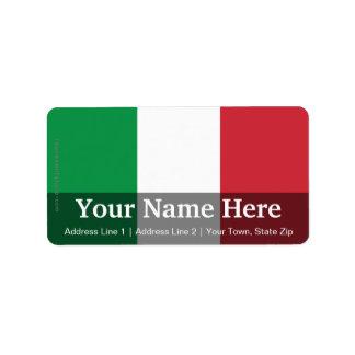 Bandera llana de Italia Etiqueta De Dirección