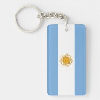 Bandera llana de la Argentina Llavero Rectangular Acrílico A Doble Cara