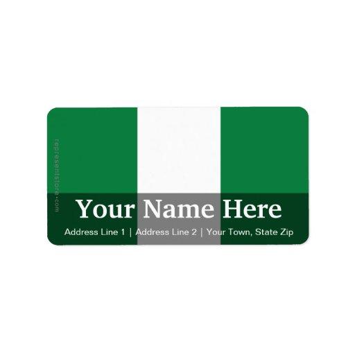 Bandera llana de Nigeria Etiquetas De Dirección