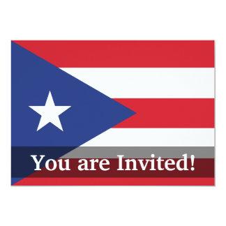 """Bandera llana de Puerto Rico Invitación 5"""" X 7"""""""