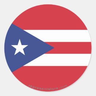 Bandera llana de Puerto Rico Pegatina Redonda