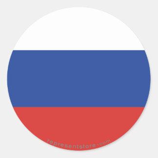 Bandera llana de Rusia Pegatina Redonda