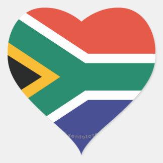 Bandera llana de Suráfrica Pegatinas De Corazon Personalizadas