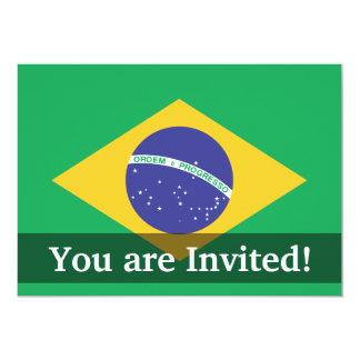 """Bandera llana del Brasil Invitación 5"""" X 7"""""""