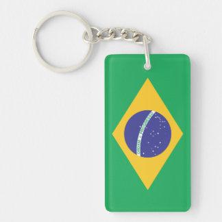 Bandera llana del Brasil Llavero Rectangular Acrílico A Doble Cara