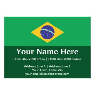 Bandera llana del Brasil Tarjetas De Visita Grandes