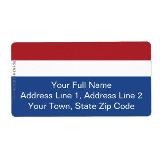 Bandera llana holandesa etiqueta de envío