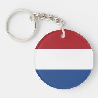 Bandera llana holandesa llavero redondo acrílico a doble cara
