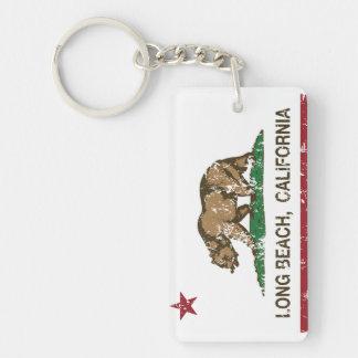 bandera Long Beach de California apenada Llavero Rectangular Acrílico A Doble Cara