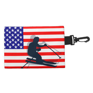 Bandera los E.E.U.U. del engranaje del esquí de