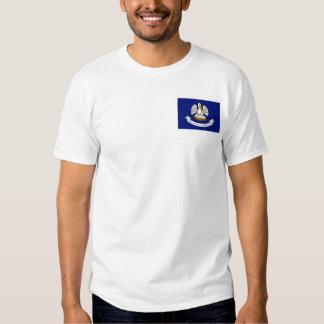 Bandera Louisianan + Camiseta del mapa Poleras