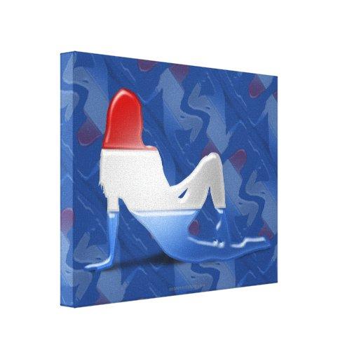 Bandera Luxembourgian de la silueta del chica Lona Envuelta Para Galerias