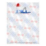 Bandera Luxembourgian de la silueta del chica Membrete A Diseño