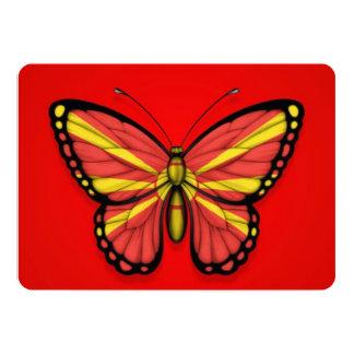"""Bandera macedónica de la mariposa en rojo invitación 5"""" x 7"""""""