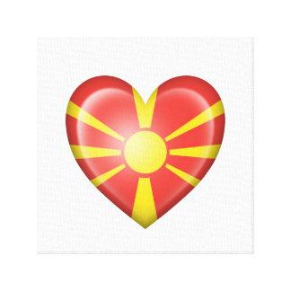 Bandera macedónica del corazón en blanco impresión en lona