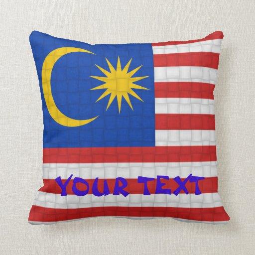 Bandera malasia de Malasia: AÑADA EL TEXTO Cojín