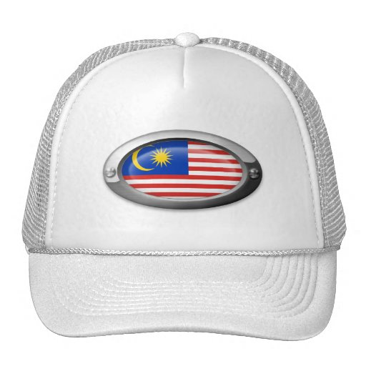 Bandera malasia en marco de acero oval gorras