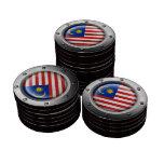 Bandera malasia industrial con el gráfico de acero fichas de póquer