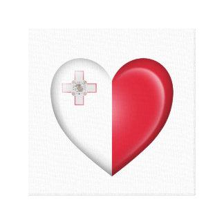 Bandera maltesa del corazón en blanco impresion de lienzo
