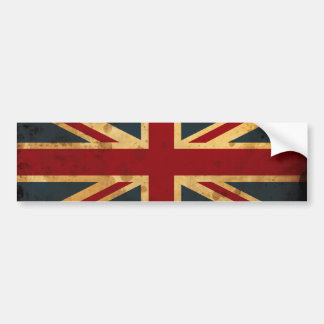 Bandera manchada café de Union Jack Pegatina De Parachoque