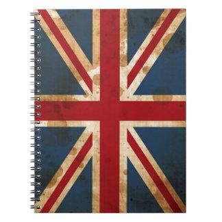 Bandera manchada de Union Jack Reino Unido del Libretas Espirales