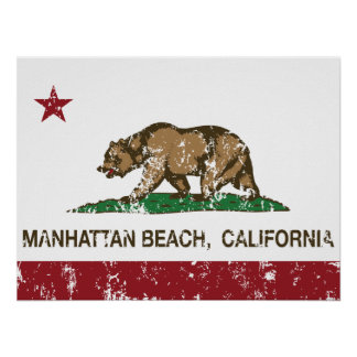 Bandera Manhattan Beach del estado de California Póster