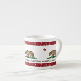 Bandera Manhattan Beach del estado de California Taza Espresso