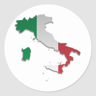 Bandera Map_2 de Italia Pegatina Redonda