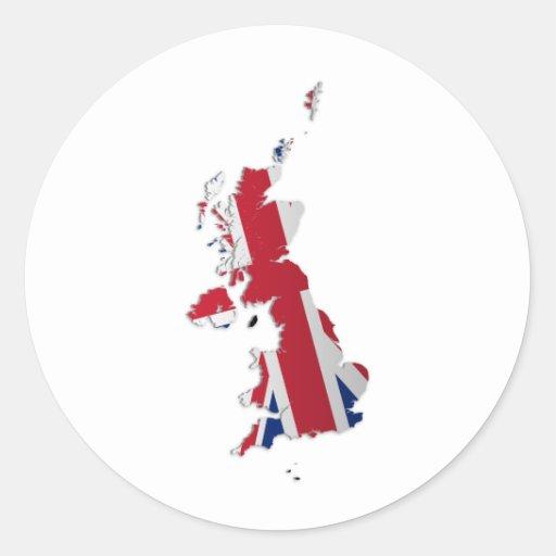 Bandera Map_2 de las dependencias de Reino Unido y Pegatina Redonda