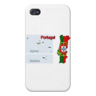Bandera Map_2 de Portugal iPhone 4/4S Fundas