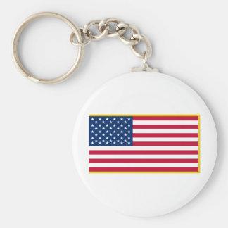 Bandera marítima franjada oro de Estados Unidos el Llavero Redondo Tipo Pin